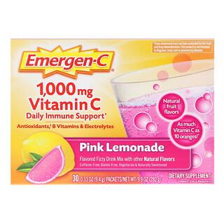Emergen-C, Suporte Imunológico Diário com 1.000 mg de Vitamina C, Limonada Rosa, 30 Sachês, 9,4 g (0,33 oz) Cada