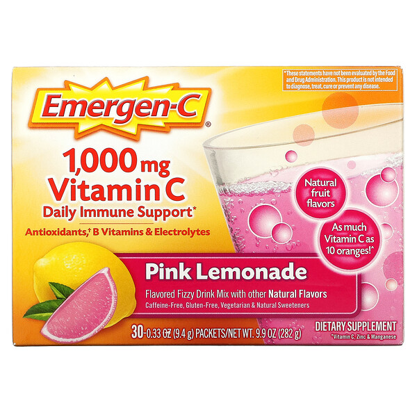 Vitamin C, Flavored Fizzy Drink Mix, Pink Lemonade, 1,000 mg, 30 Packets, 0.33 oz (9.4 g) Each