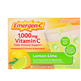 Emergen-C, Vitamin C, Flavored Fizzy Drink Mix, Lemon-Lime, 1,000 mg, 30 Packets, 9.4 g Each