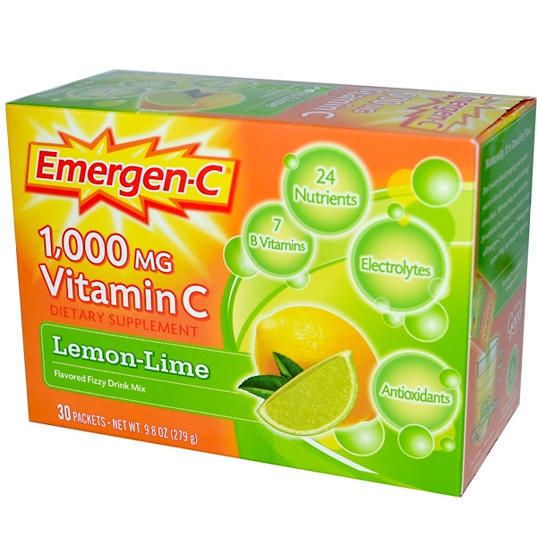 Emergen-C, Vitamin C, Flavored Fizzy Drink Mix, Lemon-Lime, 1,000 mg, 30 Packets, 9.3 g Each