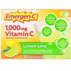 Эмерген-С, Vitamin C, Flavored Fizzy Drink Mix, Lemon-Lime, 1,000 mg, 30 Packets, 0.33 oz (9.4 g) Each отзывы покупателей