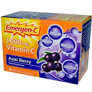 Emergen-C, 1,000 mg Vitamin C, Acai Berry, 30 Packets, 8.4 g Each