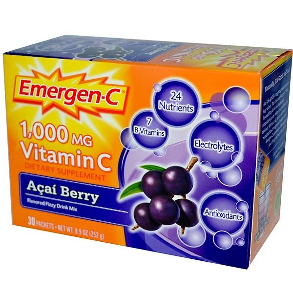 Emergen-C, 1,000 mg Vitamin C, Acai Berry, 30 Packets, 8.4 g Each