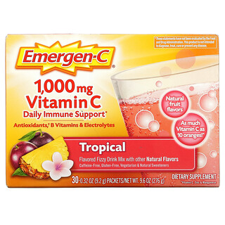 Emergen-C, Vitamin C, Flavored Fizzy Drink Mix, Tropical, 1,000 mg, 30 Packets, 0.32 oz (9.2 g) Each