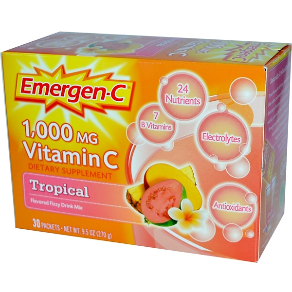 Emergen-C, 1,000 mg Vitamin C, Tropical, 30 Packets, 9.0 g Each