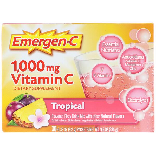 Emergen-C, Vitamin C, Tropical, 1,000 mg, 30 Packets, 0.32 oz (9.2 g) Each