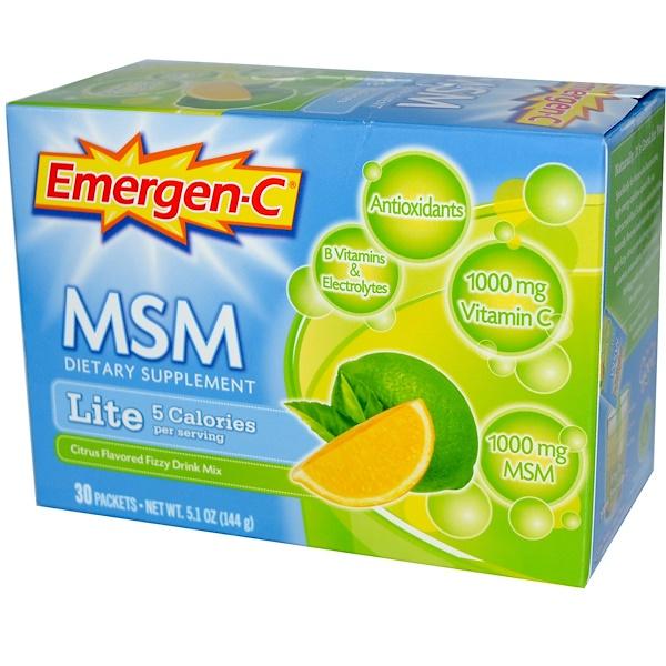 Emergen-C, MSM, Lite, Citrus Flavored Fizzy Drink Mix, 30 Packets, 5.1 oz (144 g)