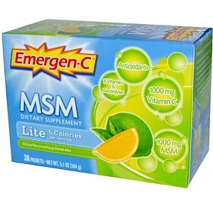 Эмерген-С, MSM, Lite, Citrus Flavored Fizzy Drink Mix, 30 Packets, 5.1 oz (144 g) отзывы