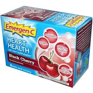 Эмерген-С, Emergen-C, Heart Health, Black Cherry, Flavored Fizzy Drink Mix, 30 Packets, 0.3 oz (9.0 g) Per Packet отзывы покупателей