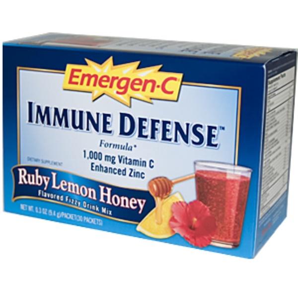 Emergen-C, Emergen-C, Immune Defense Formula, Ruby Lemon Honey, 30 Packets, 0.3 oz (9.4 g) Each (Discontinued Item)