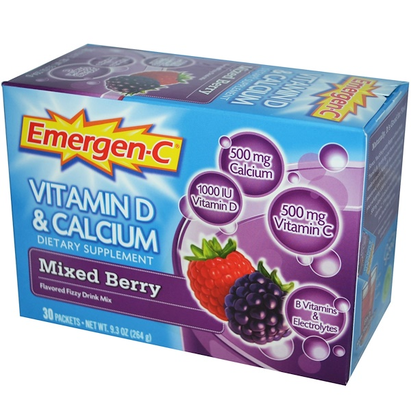 Emergen-C, Emergen-C, Vitamin D & Calcium, Mixed Berry, Flavored Fizzy Drink Mix, 30 Packets, 8.8 g Each (Discontinued Item)