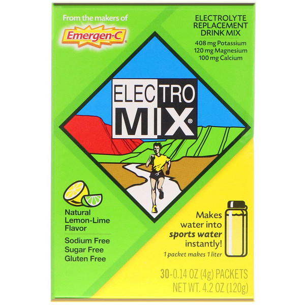 Emergen-C, Electro Mix, Electrolyte Replacement Drink Mix, Natural Lemon-Lime, 30 Packets, 0.14 oz (4 g) Each