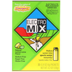 Эмерген-С, Electro Mix, Electrolyte Replacement Drink Mix, Natural Lemon-Lime, 30 Packets, 0.14 oz (4 g) Each отзывы покупателей