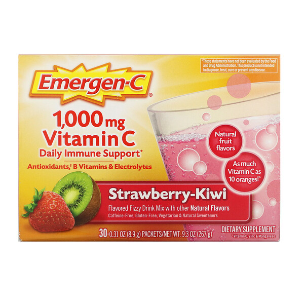 Emergen-C,  Vitamin C, Strawberry-Kiwi, 1,000 mg, 30 Packets, 0.31 oz (8.9 g) Each