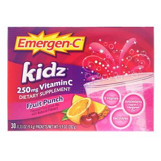 Emergen-C, Kidz, Ponche de Frutas, 30 Pacotes, 9,7 oz (276 g)