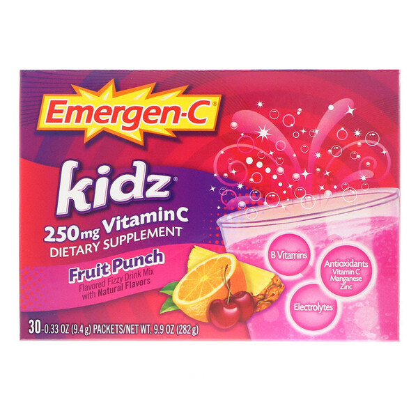 Emergen-C, Kidz, Fruit Punch, 30 Packets, 9.7 oz (276 g)
