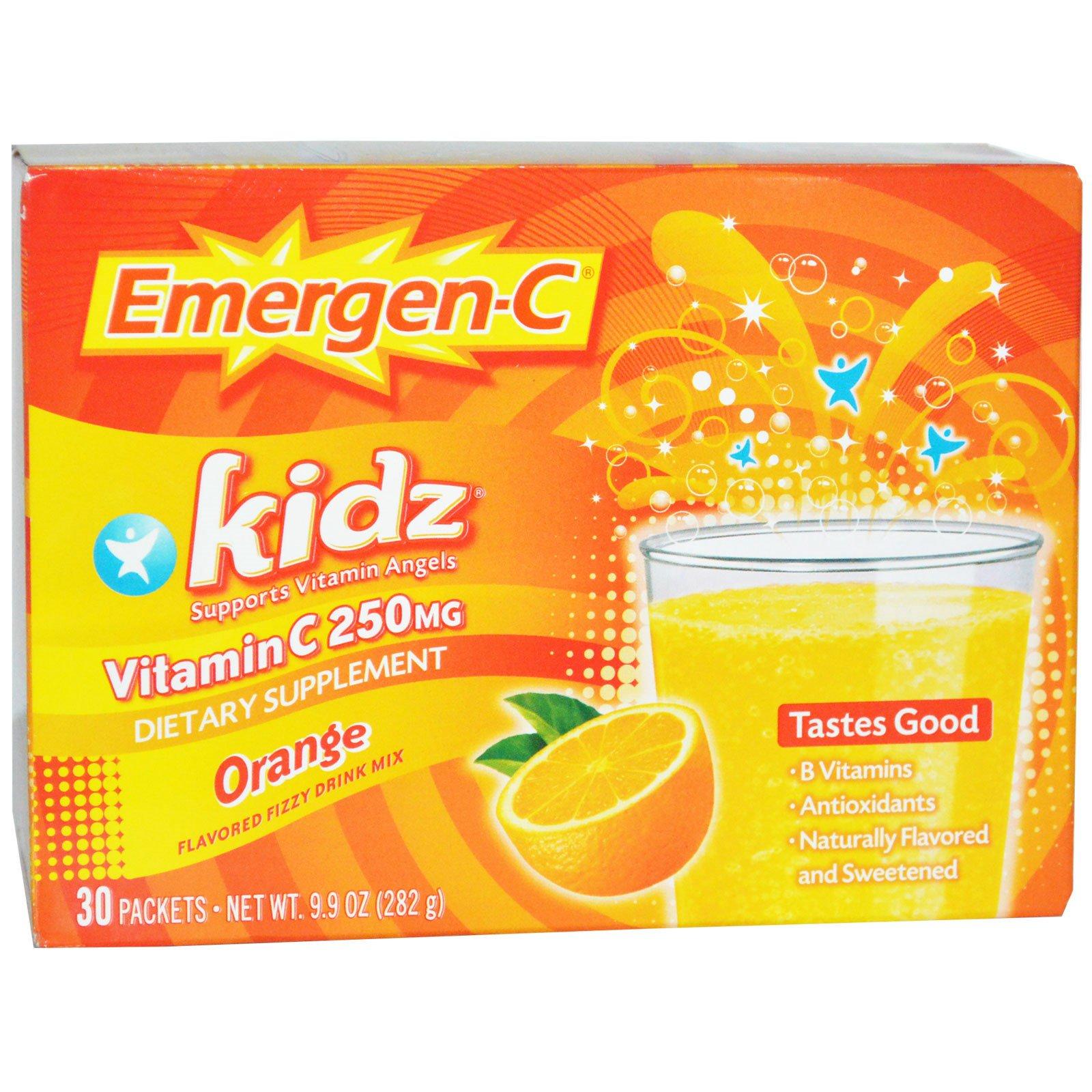 Emergen-C, для детей, апельсин, 30 пакетиков, 9,9 унций (282 гр)