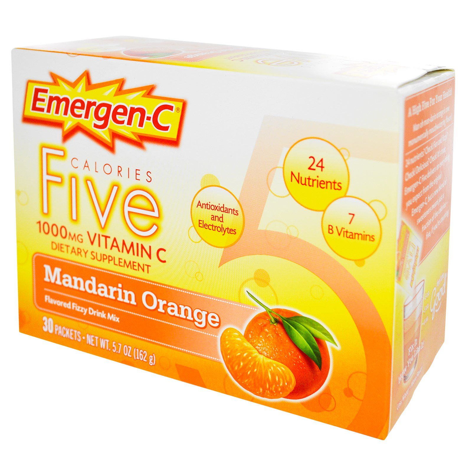 Emergen C Emergen C Five Calories 1000 Mg Vitamin C Mandarin Orange 30 Packets 5 4 G Each Iherb