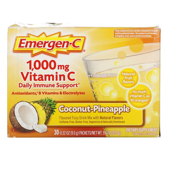 Emergen-C, Vitamin C, Coconut-Pineapple, 1,000 mg, 30 Packets, 0.32 oz (9.0 g) Each