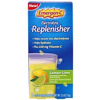 Emergen-C, Electrolyte Replenisher, Lemon-Lime, 8 Packets, 0.33 oz (9.4 g) Each