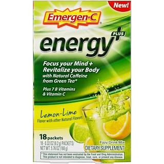Emergen-C, Energy Plus, Lemon Lime, 18 Packets, 0.32 oz (9.2 g ) Each