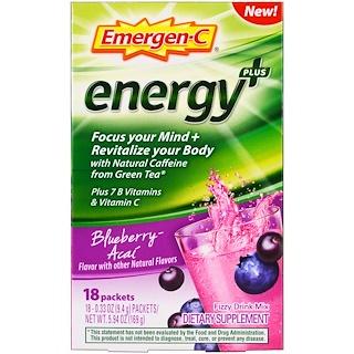 Emergen-C, Energy Plus, Blueberry Acai, 18 Packets, 0.33 oz (9.4 g) Each