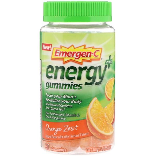 Emergen-C, Gommes Énergie Plus, Zeste d'orange, 30 unités (Discontinued Item)