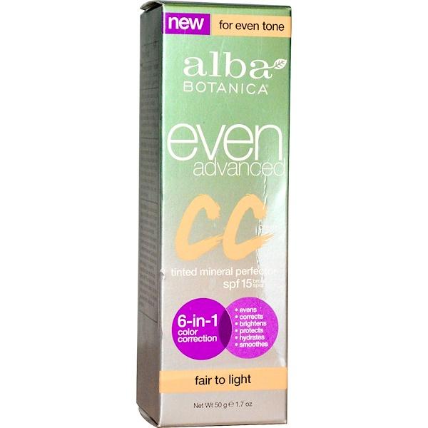 Alba Botanica, Even Advanced CC Cream, SPF 15, Fair to Light, 1.7 oz (50 g) (Discontinued Item)