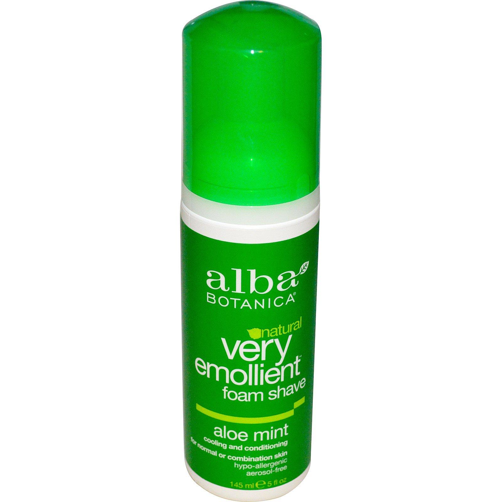 Alba Botanica, Смягчающая натуральная пена для бритья, суперувлажняющая, мятное алое, 145 мл (5 жидких унций)