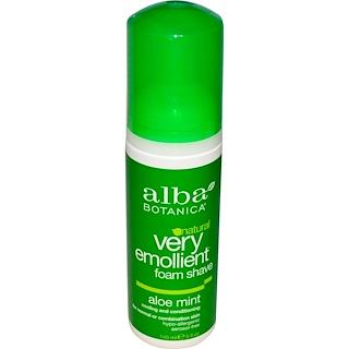 Alba Botanica, Natural Very Emollient, Natural Foam Shave, Aloe Mint, 5 fl oz (145 ml)