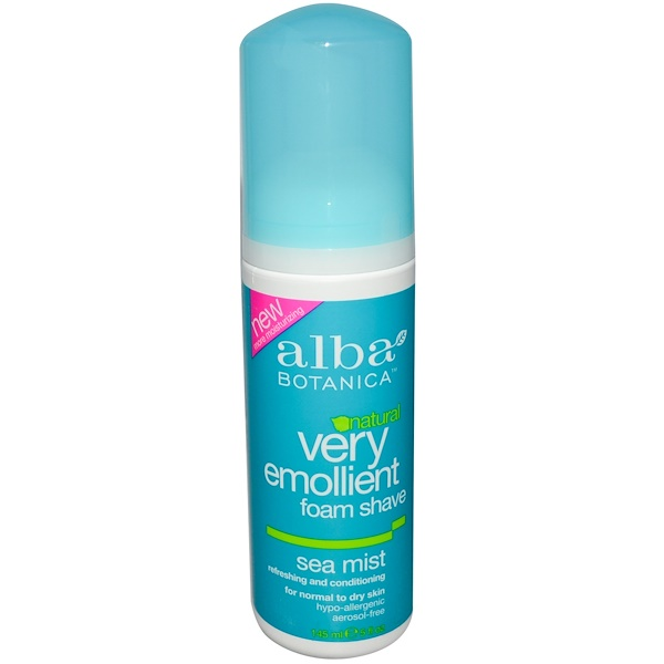 Alba Botanica, Natural Very Emollient, Foam Shave, Sea Mist, 5 fl oz (145 ml) (Discontinued Item)
