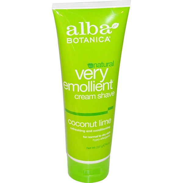 Alba Botanica, Natural Very Emollient, Cream Shave, Coconut Lime, 8 oz (227 g) (Discontinued Item)