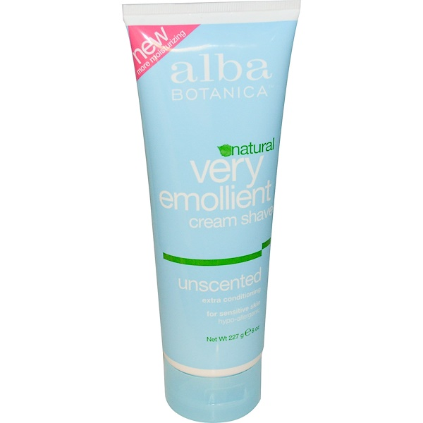 Alba Botanica, Natural Very Emollient, Cream Shave, Unscented, 8 oz (227 g)