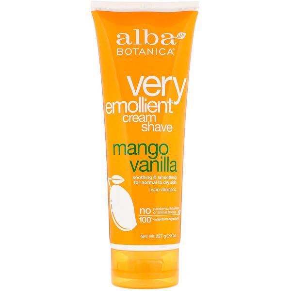 Alba Botanica, Very Emollient Cream Shave, Mango Vanilla, 8 oz (227 g)