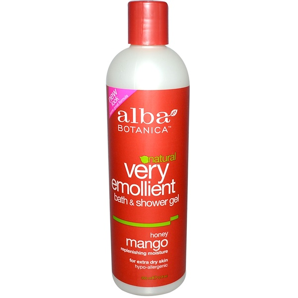 Alba Botanica, Natural Very Emollient, Bath & Shower Gel, Honey Mango, 12 fl oz (355 ml) (Discontinued Item)