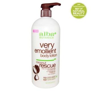 Alba Botanica, Very Emollient, Body Lotion, Coconut Rescue, 32 oz (907 g)