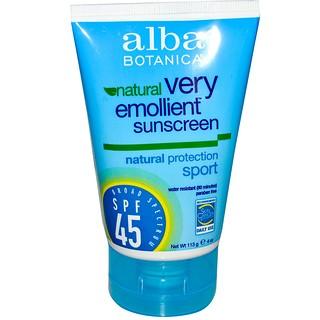Alba Botanica, Natural Very Emollient, Sunscreen, Sport, SPF 45, 4 oz (113g)