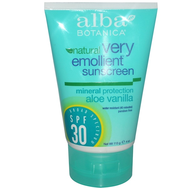 Alba Botanica, Natural Very Emollient Sunscreen, Aloe Vanilla, SPF 30, 4 oz (113 g)  (Discontinued Item)