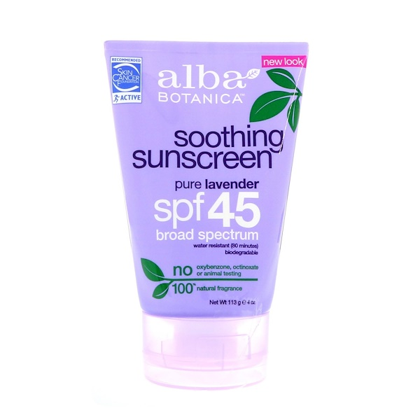 Alba Botanica, Natural Very Emollient, Sunscreen, Pure Lavender, SPF 45, 4 oz (113 g)