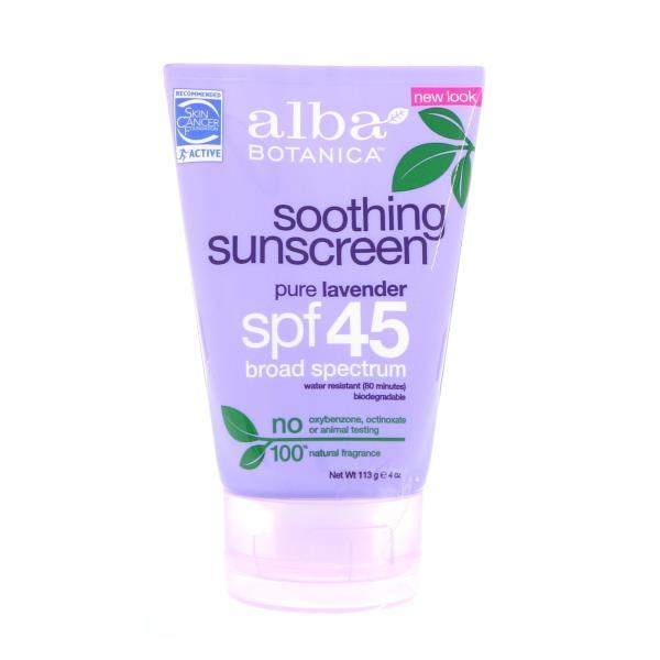 Alba Botanica, Natural Very Emollient, Sunscreen, Pure Lavender, SPF 45, 4 oz (113 g)