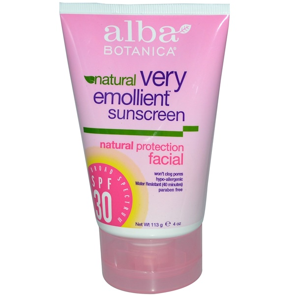 Alba Botanica, Natural Very Emollient Sunscreen, SPF 30, 4 oz (113 g) (Discontinued Item)