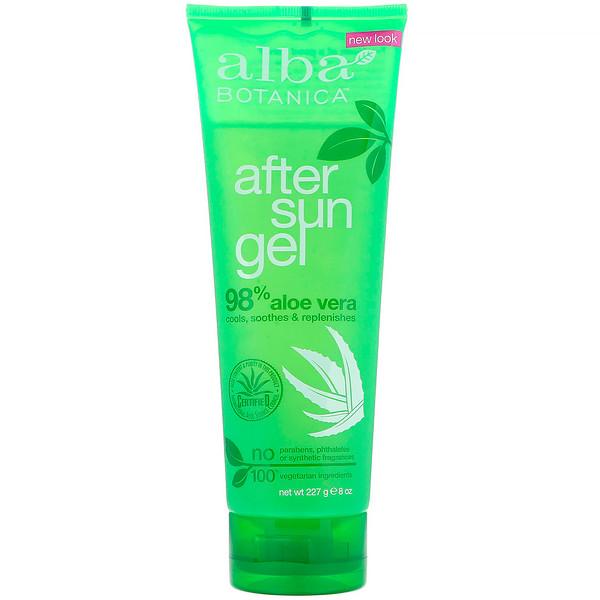 Alba Botanica, After Sun Gel, 98% Aloe Vera, 8 oz (227 g)