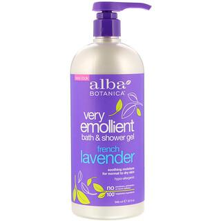 Alba Botanica, Very Emollient, Bath & Shower Gel, French Lavender, 32 fl oz (946 ml)