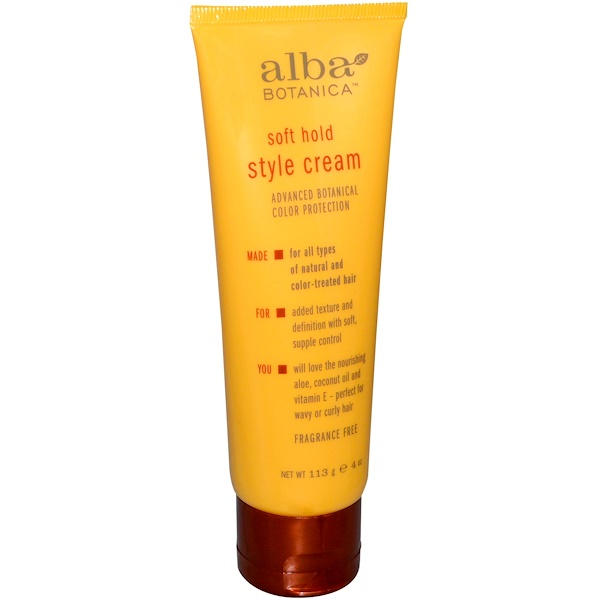 Alba Botanica, Soft Hold, Style Cream, Fragrance Free, 4 oz (113 g) (Discontinued Item)