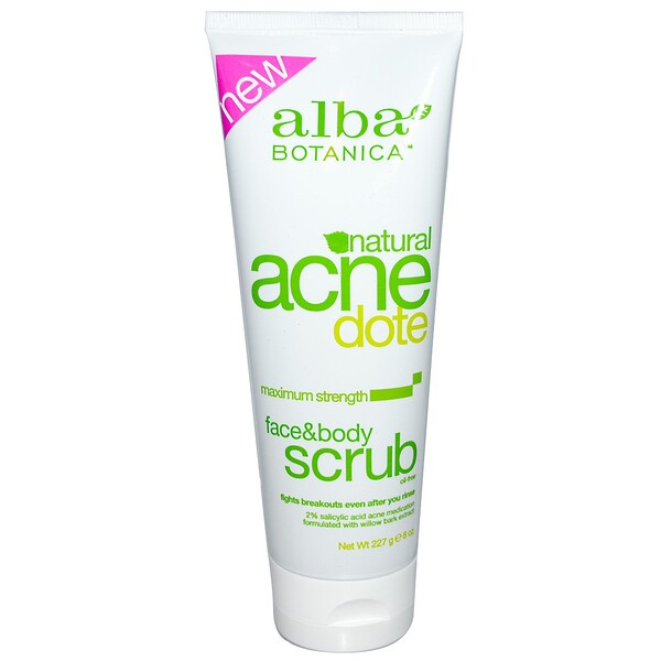 Alba Botanica, Acne Dote, Face & Body Scrub, Oil-Free, 8 oz (227 g)