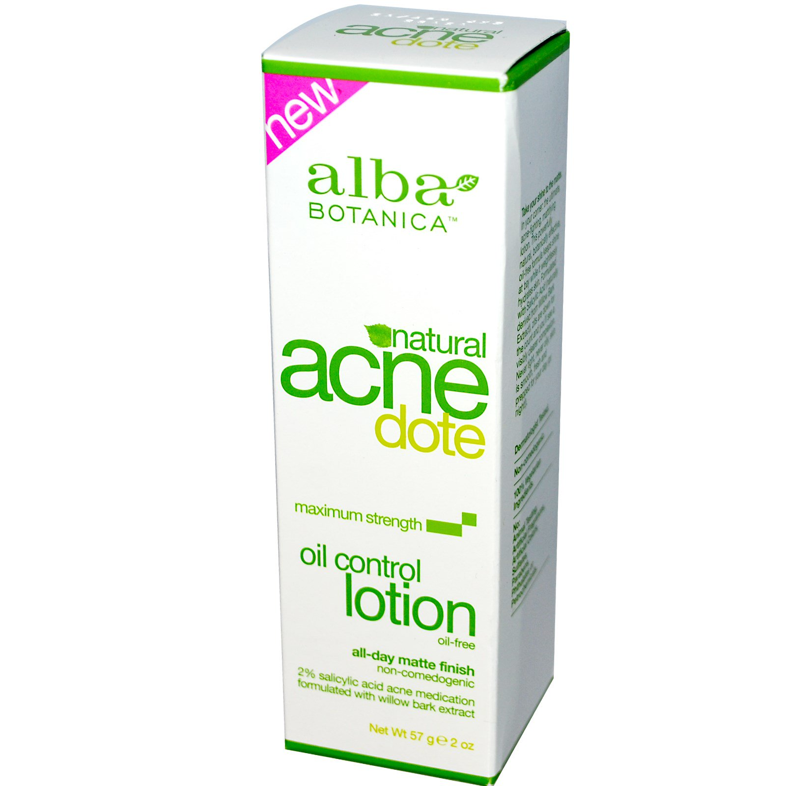 Alba Botanica, Acne Dote, Oil Control Lotion, Oil-Free, 2 oz (57 g)