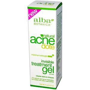 Alba Botanica, Acne Dote, Invisible Treatment Gel, Oil-Free, 0.5 oz (14 g)