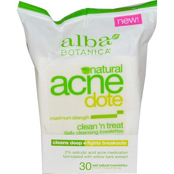 Acne Dote, Daily Cleansing Towelettes, Oil Free, 30 Wet Towelettes