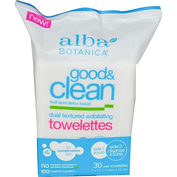 Alba Botanica, グッド・アンドクリーン、デュアルテクスチャー角質除去ウェットティッシュ、油脂不使用、ウェットティッシュ30枚
