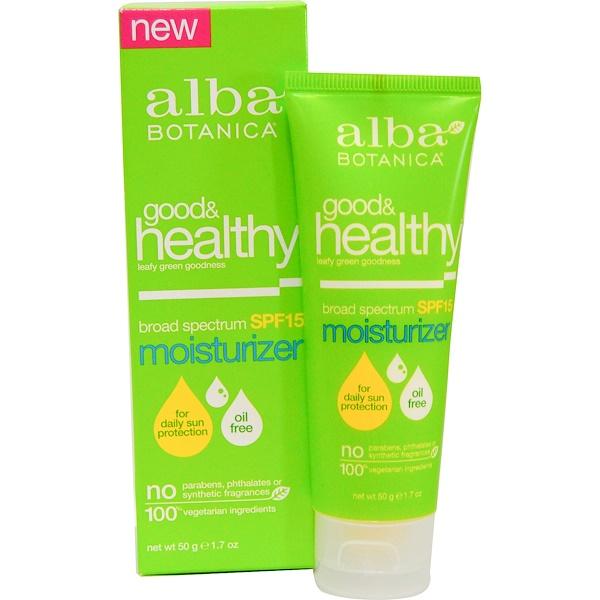 Alba Botanica, 善&健康保湿剤, SPF 15, 1.7オンス (50 g) (Discontinued Item)